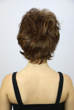 Back of Sunset Short Wig in Marble Brown.