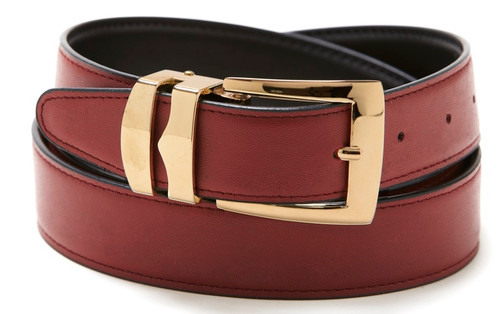 Reversible Belt Bonded Leather with Removable Gold-Tone Buckle BURGUNDY / Black