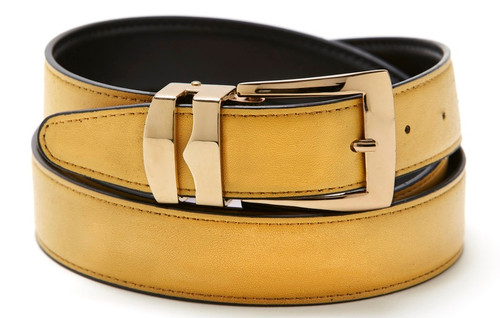 Reversible Belt Bonded Leather with Removable Gold-Tone Buckle GOLD / Black