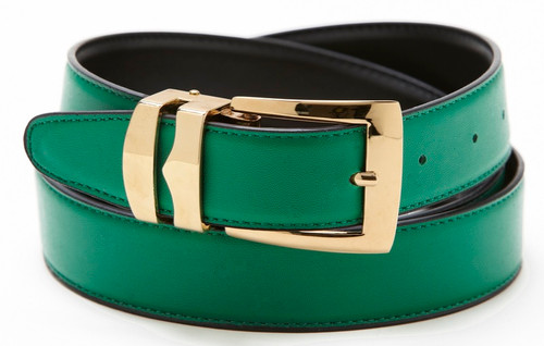 Reversible Belt Bonded Leather with Removable Gold-Tone Buckle GREEN / Black