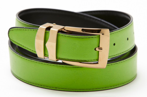 Reversible Belt Bonded Leather with Removable Gold-Tone Buckle LIME GREEN / Black