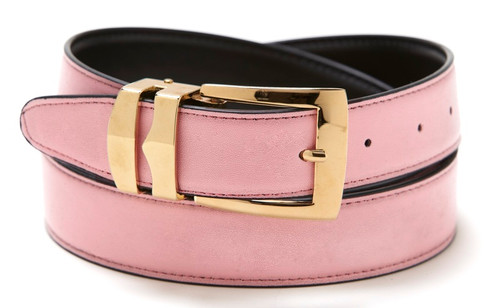 Reversible Belt Bonded Leather with Removable Gold-Tone Buckle PINK / Black