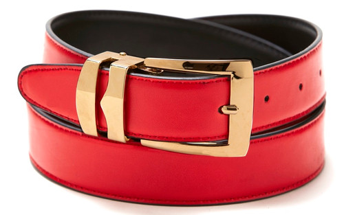Reversible Belt Bonded Leather with Removable Gold-Tone Buckle RED / Black