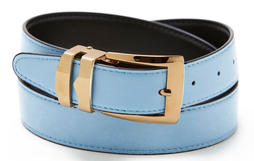 Reversible Belt Bonded Leather with Removable Gold-Tone Buckle SKY BLUE / Black