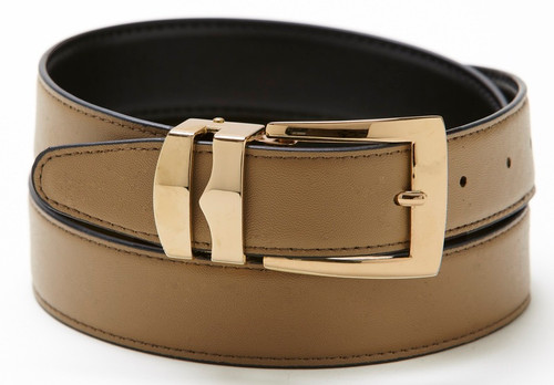 Reversible Belt Bonded Leather with Removable Gold-Tone Buckle TAUPE / Black