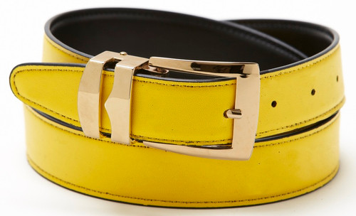 Reversible Belt Bonded Leather with Removable Gold-Tone Buckle YELLOW / Black