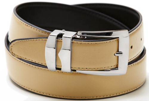 Reversible Belt Bonded Leather with Removable Silver-Tone Buckle BEIGE / Black