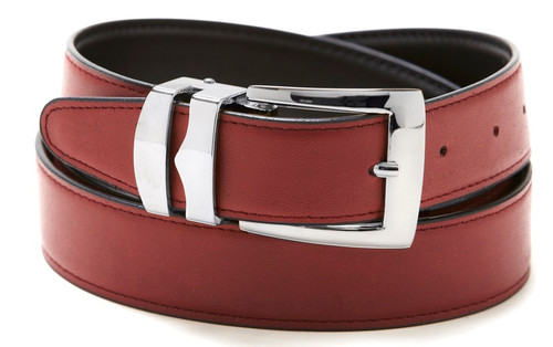 Reversible Belt Bonded Leather with Removable Silver-Tone Buckle BURGUNDY / Black