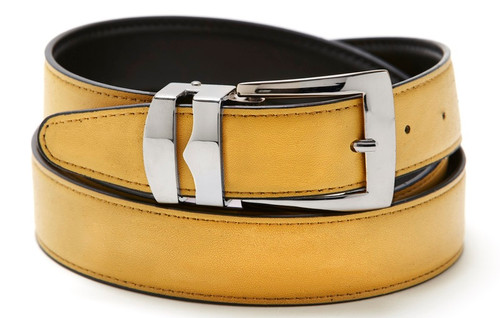 Reversible Belt Bonded Leather with Removable Silver-Tone Buckle GOLD / Black