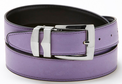 Reversible Belt Bonded Leather with Removable Silver-Tone Buckle LILAC / Black