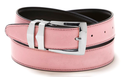 Reversible Belt Bonded Leather with Removable Silver-Tone Buckle PINK / Black