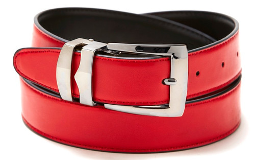 Reversible Belt Bonded Leather with Removable Silver-Tone Buckle RED / Black