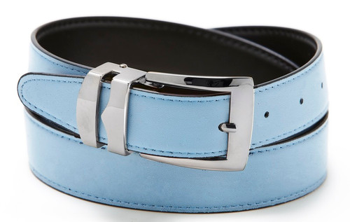 Reversible Belt Bonded Leather with Removable Silver-Tone Buckle SKY BLUE /Black