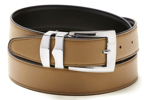 Reversible Belt Bonded Leather with Removable Silver-Tone Buckle TAUPE / Black