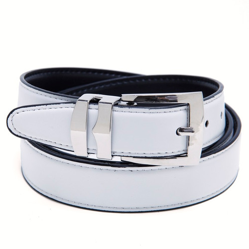 Reversible Belt Bonded Leather with Removable Silver-Tone Buckle WHITE / Black