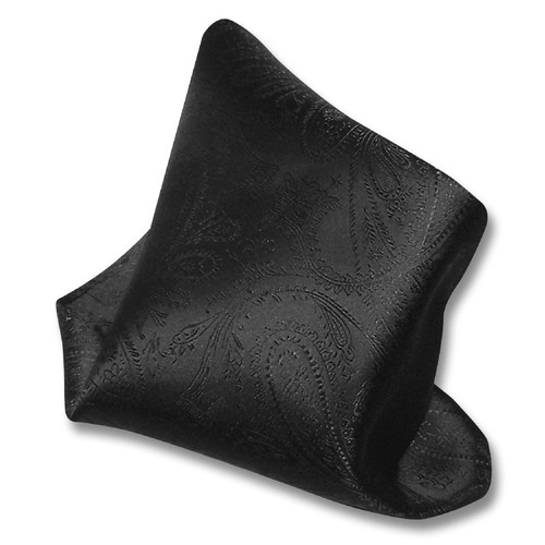 Black Paisley Design Hankerchief Pocket Square Hanky