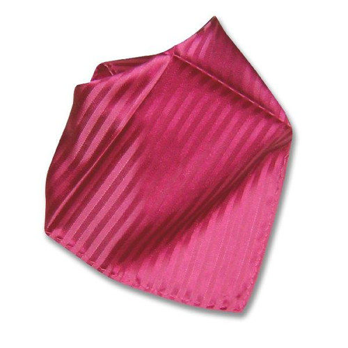 Hot Pink Fuschia Striped Hankerchef Pocket Square Hanky