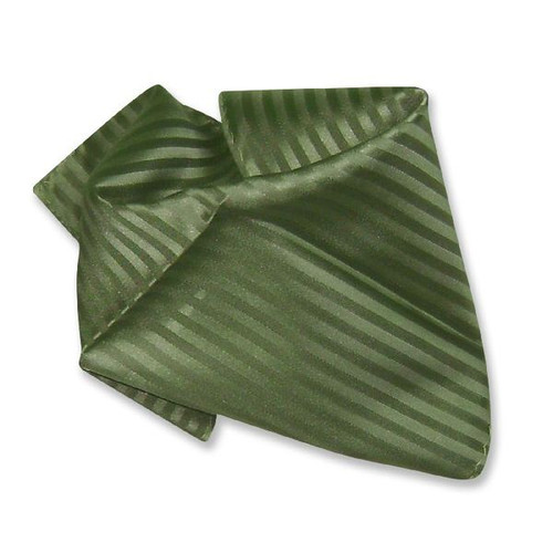 Olive Green Striped Hankerchief Pocket Square Hanky