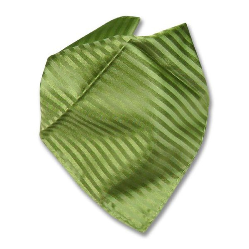 Spinach Green Striped Hankerchief Pocket Square Hanky
