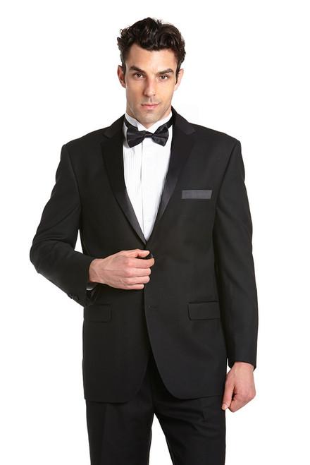 Concitor Men's Tuxedo Jacket and Pants Set Two Button Design Black