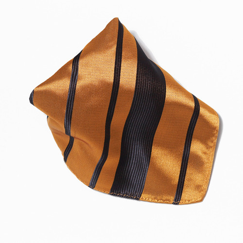 Gold & Black Woven Design Hankerchief Pocket Square Hanky
