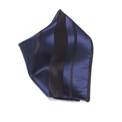 Navy Blue Woven Design Hankerchief Pocket Square Hanky