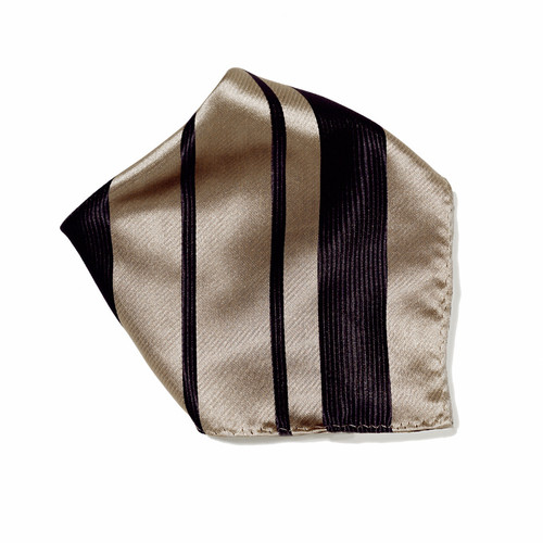 Taupe & Black Woven Design Hankerchief Pocket Square Hanky