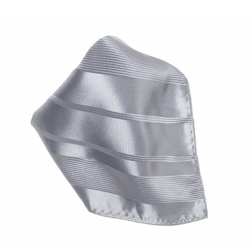 Silver Woven Design Hankerchief Pocket Square Hanky