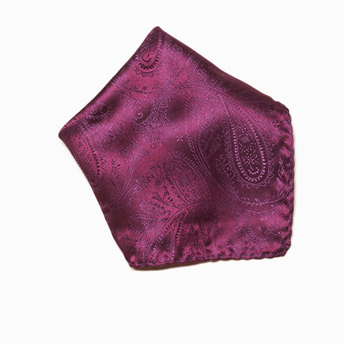 Eggplant Purple Paisley Design Hankerchief Pocket Square Hanky