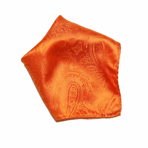 Orange Paisley Design Hankerchief Pocket Square Hanky