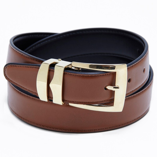 Reversible Belt Bonded Leather Removable Gold-Tone Buckle CONGAC BROWN / Black