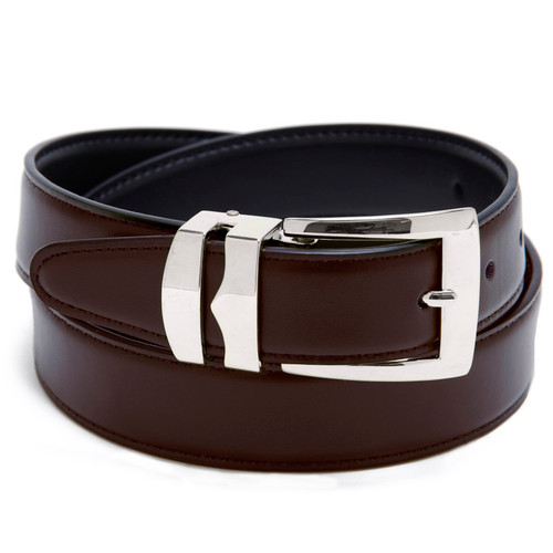 Reversible Belt Bonded Leather Removable Silver-Tone Buckle BROWN / Black
