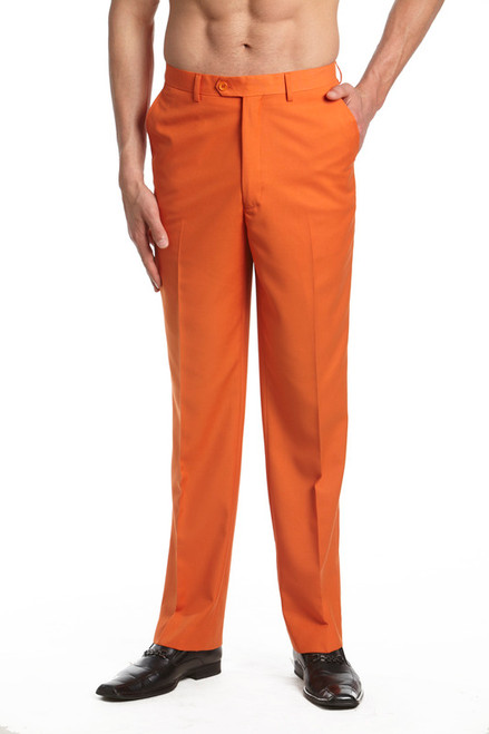 Men's Dress Pants Trousers Flat Front Slacks ORANGE CONCITOR