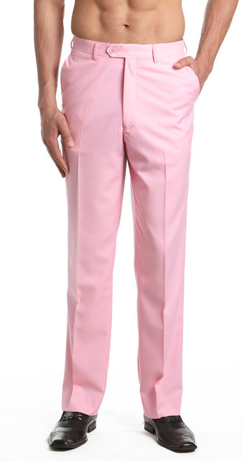 Men's Dress Pants Trousers Flat Front Slacks PINK CONCITOR