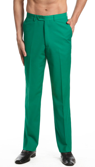 Men's Dress Pants Trousers Flat Front Slacks EMERALD GREEN CONCITOR