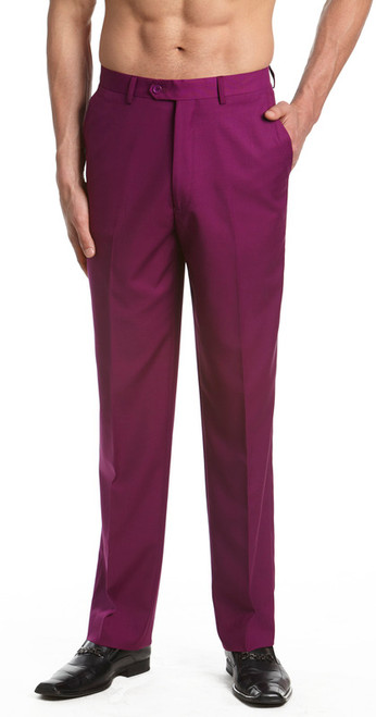 Men's Dress Pants Trousers Flat Front Slacks EGGPLANT PURPLE CONCITOR