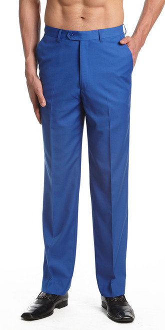 Men's Dress Pants Trousers Flat Front Slacks ROYAL BLUE CONCITOR