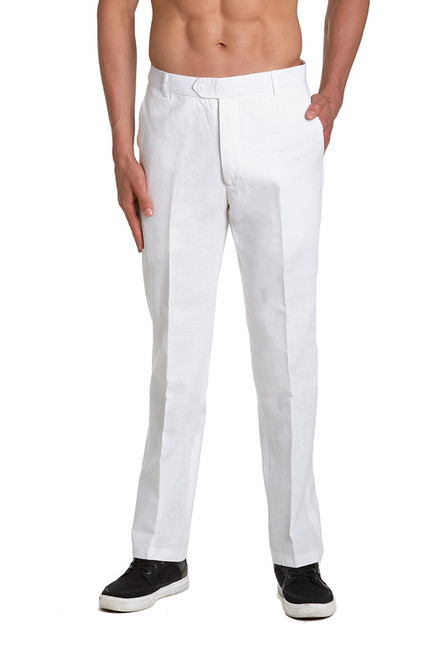 Linen Men's Dress Pants Trousers Flat Front Slacks WHITE CONCITOR