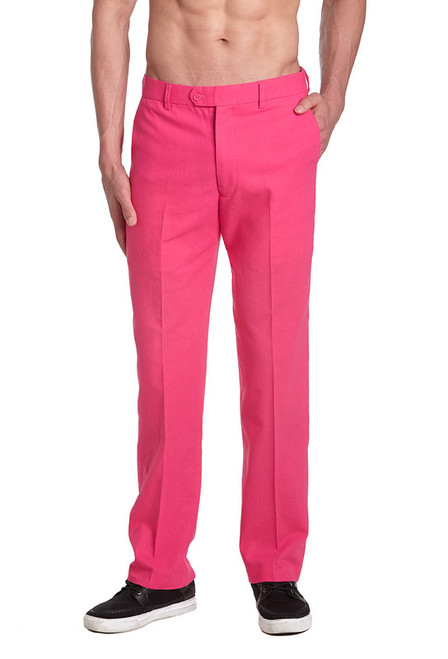 Linen Men's Dress Pants Trousers Flat Front Slacks HOT PINK CONCITOR