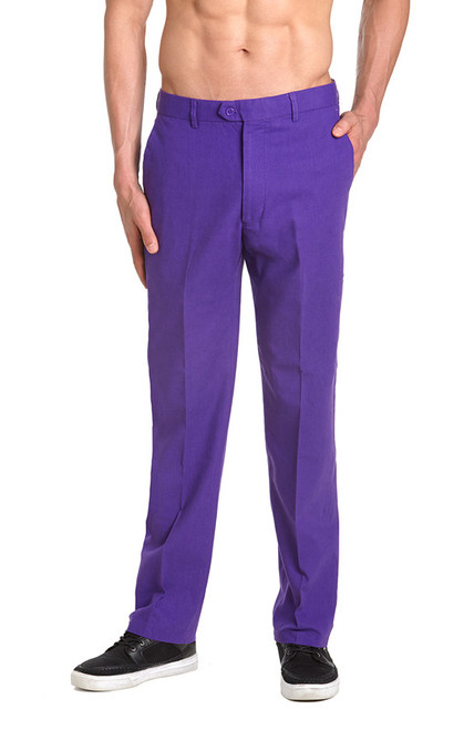 Linen Men's Dress Pants Trousers Flat Front Slacks PURPLE INDIGO CONCITOR