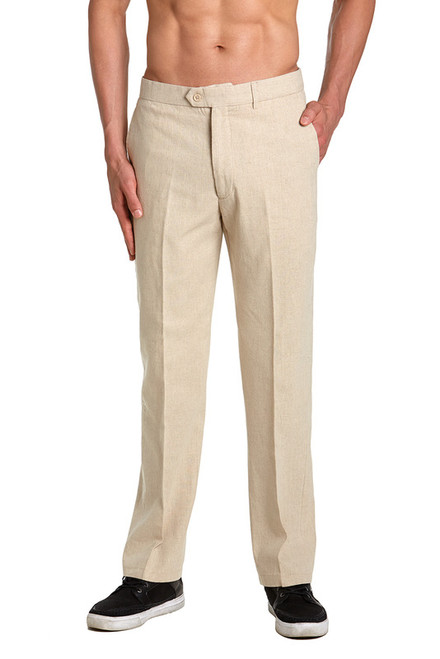 Linen Men's Dress Pants Trousers Flat Front Slacks NATURAL TAN CONCITOR