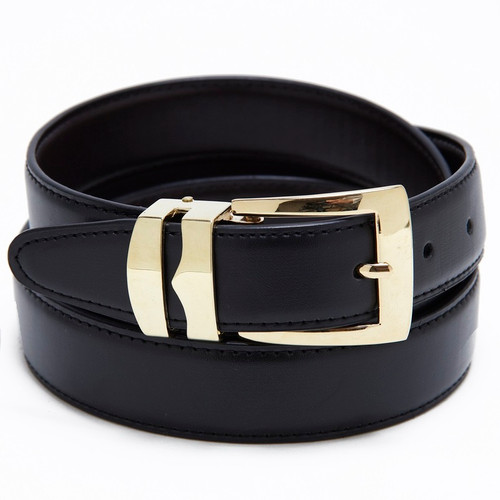 Reversible Belt Bonded Leather with Removable Gold-Tone Buckle BLACK / Navy Blue