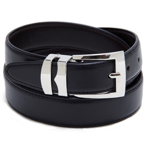 Reversible Belt Bonded Leather with Removable Silver-Tone Buckle BLACK / Navy Blue
