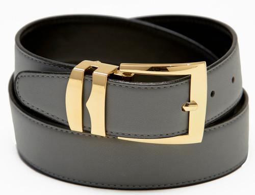 Men's Belt Reversible Wide Bonded Leather Gold-Tone Buckle CHARCOAL GREY / Black