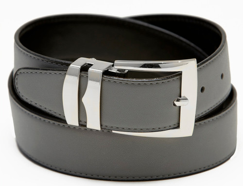 Men's Belt Reversible Wide Bonded Leather Silver-Tone Buckle CHARCOAL GREY / Black