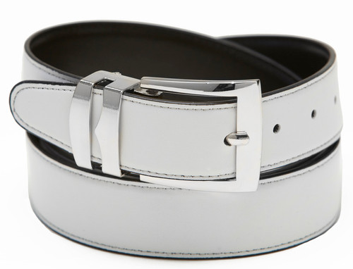 Men's Belt Reversible Wide Bonded Leather Silver-Tone Buckle WHITE / Black