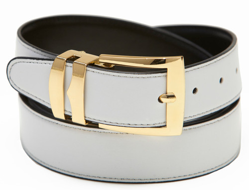 Men's Belt Reversible Wide Bonded Leather Gold-Tone Buckle WHITE / Black