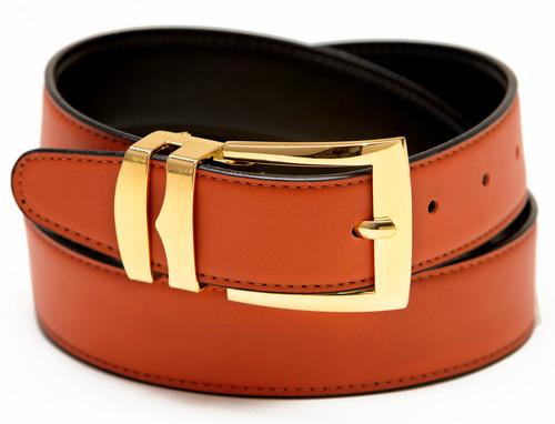 Men's Belt Reversible Wide Bonded Leather Gold-Tone Buckle ORANGE / Black
