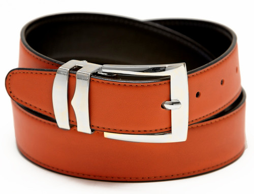 Men's Belt Reversible Wide Bonded Leather Silver-Tone Buckle ORANGE / Black