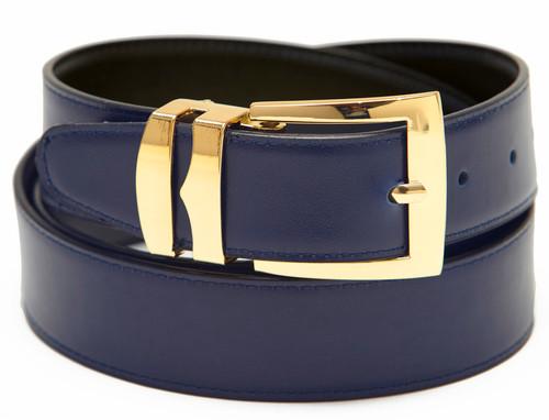 Men's Belt Reversible Wide Bonded Leather Gold-Tone Buckle NAVY BLUE / Black